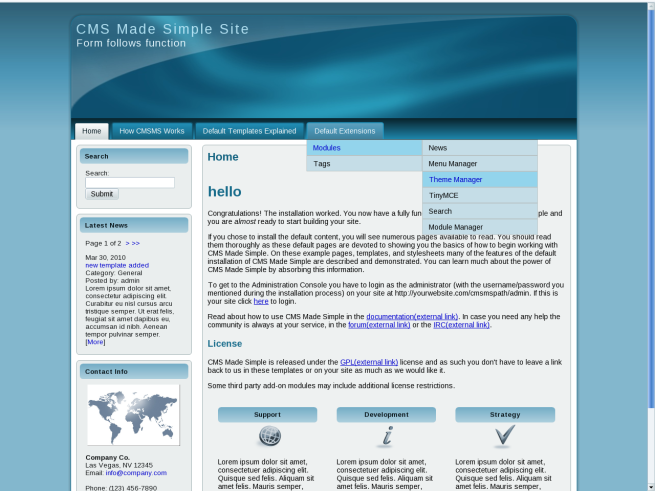 Arty marty blue theme : : CMS Made Simple Themes